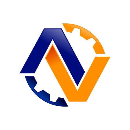 AV Initials Lettermark Engineering Gear Vector Symbol Graphic Logo Design 矢量图像