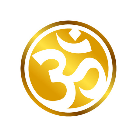 Golden OM Circular Vector Symbol Graphic  Design