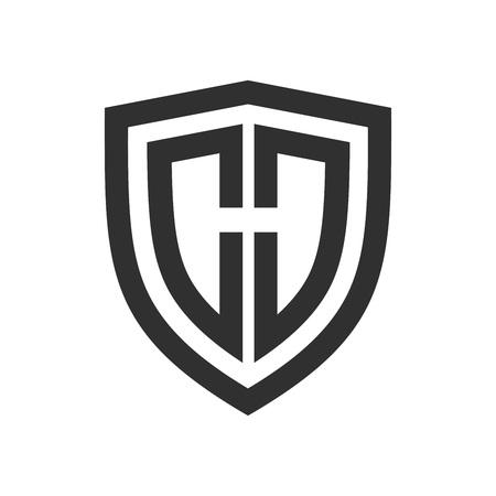 Contour de base du bouclier initial H symbole vecteur modèle de conception de logo graphique