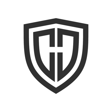Shield Basic Outline Initial H Vector Symbol Graphic Logo Design Template