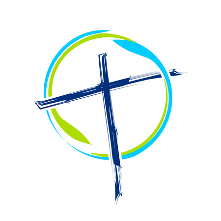 World Ministry Brush Abstract Cross Vector Symbol Graphic Logo Design