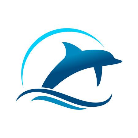 Salto marino de delfines símbolo gráfico vectorial Diseño de Logotipo