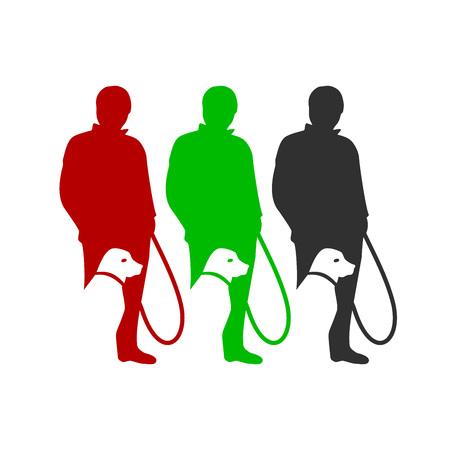 Człowiek spacerując pies sylwetka wektor symbol graficzny logo szablon projektu