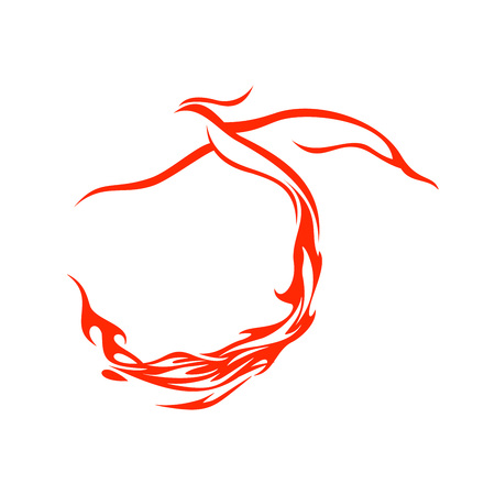Fire Tail Phoenix Flying Vector Symbol Graphic Logo Design Template