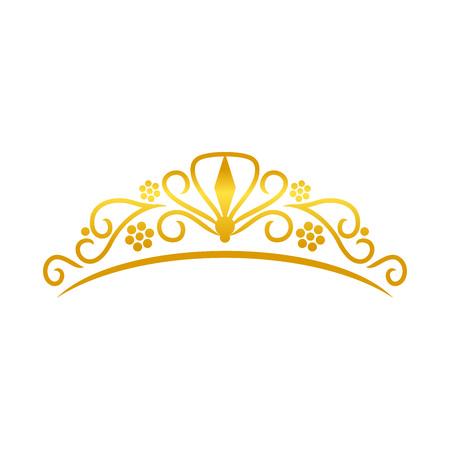 Beauty Golden Tiara Crown Vector Symbol Graphic Logo Design