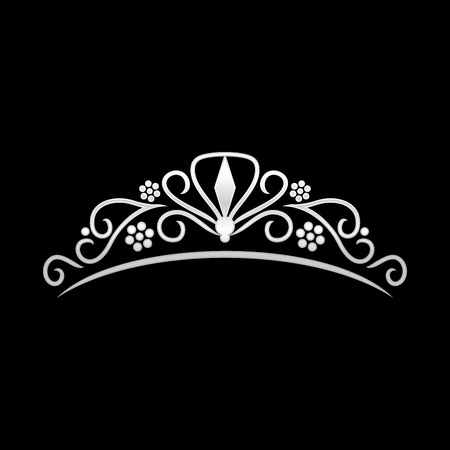 Beauté Silver Tiara Crown Symbole Vecteur Conception De Logo Graphique