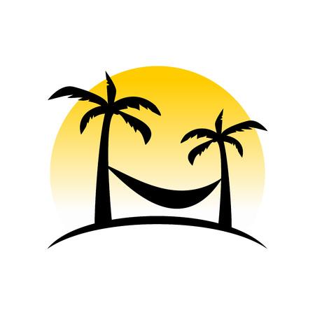 Sunset Relaxing Hammock Vector Illustration Symbol Graphic Logo Design
