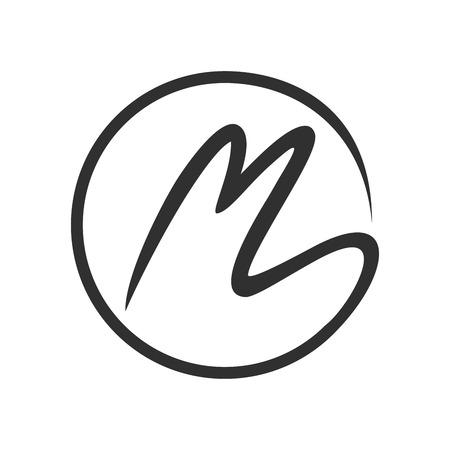 初期のMストロークサークルレターマークベクトル記号グラフィックロゴデザインテンプレート