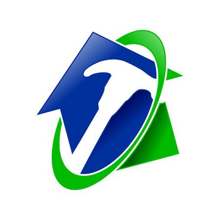 Home Restoration Service Vector Symbol Graphic Logo Design Template Illustration