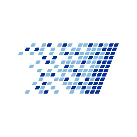 Digital Data Platform Fragments Vector Symbol Graphic Logo Design Template