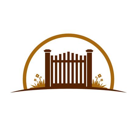 Garden Old Gate Vector Symbol Graphic Illustration Design Template