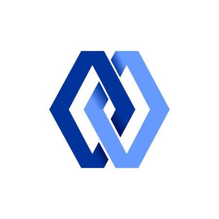 Double Diamond Blue Chain Linked Vector Symbol Graphic Logo Design Template Banque d'images - 110545351