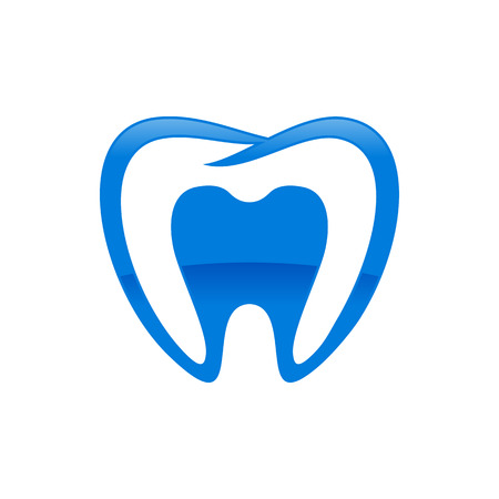 Inside Dental Shape Blue Vector Symbol Graphic Logo Design Template