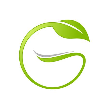 Initial G Lettermark Leaf Circle Vector Symbol Graphic Logo Design Template
