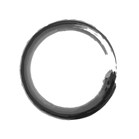 Zen Watercolor Ink Brush Vector Symbol Graphic Logo Design