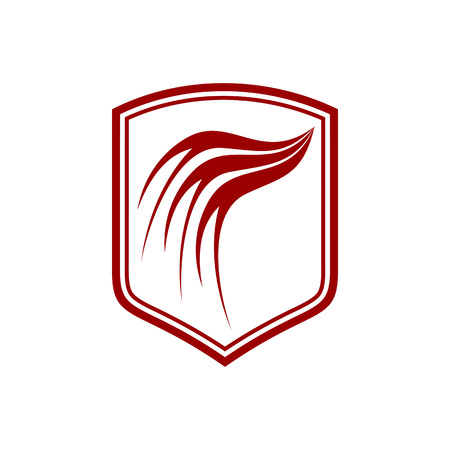 Dragon Wing Red Shield Vector Symbol Graphic Logo Design Template  イラスト・ベクター素材