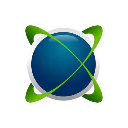 Global Expansion Circular 3D Vector Symbol Graphic Logo Design Template