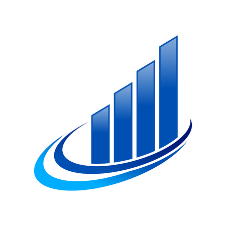 Fast Economic Growth Blue Vector Symbol Graphic Logo Design Template
