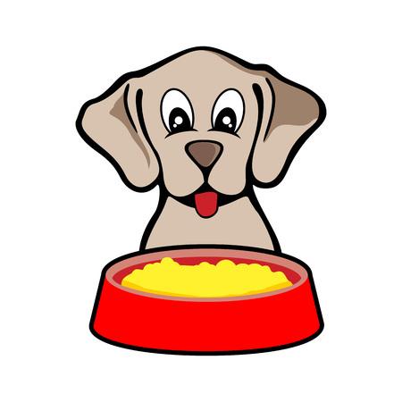 Feeding Cute Dog Vector Illustration Design