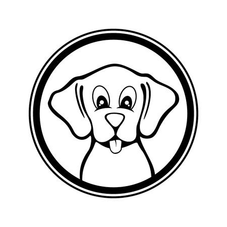 Funny Dog Black and White Vector Illustration Circular Shape Design  イラスト・ベクター素材