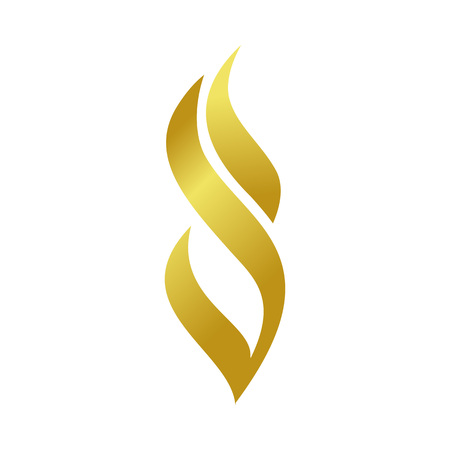 Golden Abstract Fire Flame Shape Vector Symbol Graphic Logo Design Template