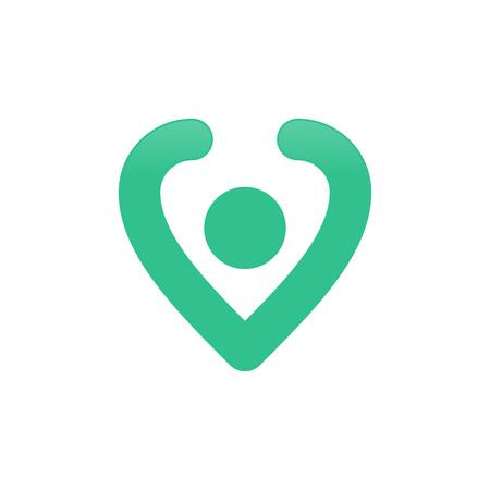 Pin Location Love Shape Vector Symbol Graphic Logo Design Template  イラスト・ベクター素材