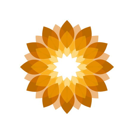 Golden Flower Shades Vector Symbol Graphic Logo Design Template