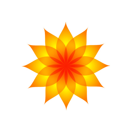 Orange Yellow Fountain Color Flower Vector Symbol Graphic Logo Design Template  イラスト・ベクター素材