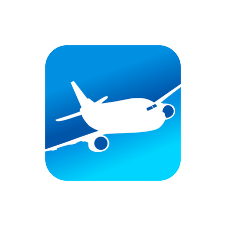 Flying Airplane Blue Rounded Square Icon Design  イラスト・ベクター素材