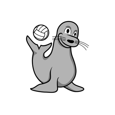 Happy Seal Playing Ball Illustration Design 일러스트