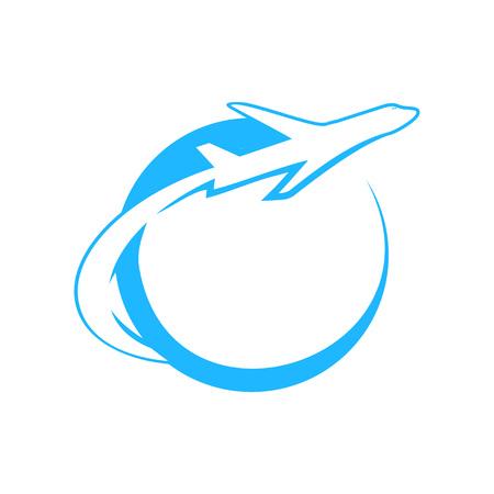 Blue Globe Airplane Flight Swoosh Vector Symbol Graphic Logo Design Template