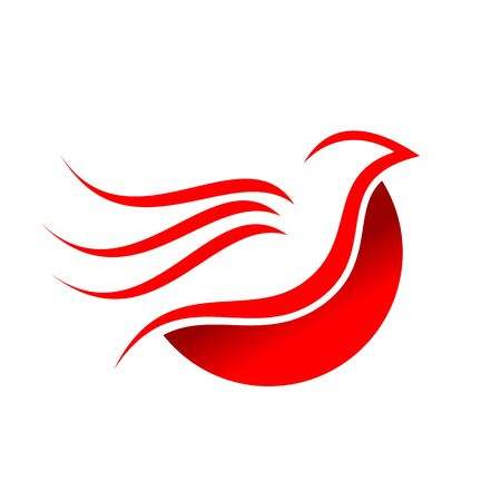 Abstract Flying Red Dove Bird Symbol Design