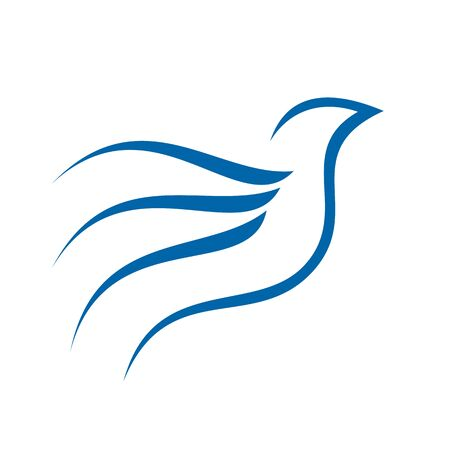 Flying Line Art Abstract Bird Symbol Design  イラスト・ベクター素材