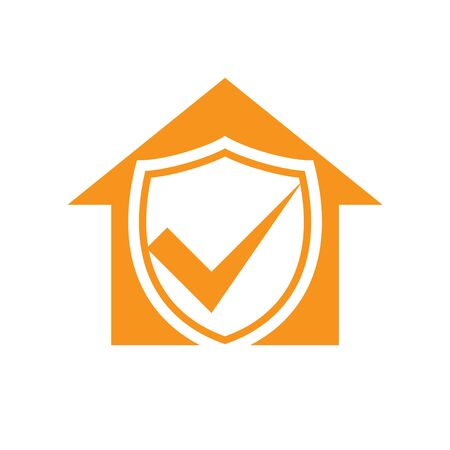 Homeguard Living Insurance Checkmark Vector Symbol Graphic Logo Design Template