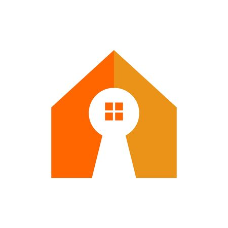 Key Hole Home Shape Vector Symbol Graphic Logo Design Template  イラスト・ベクター素材