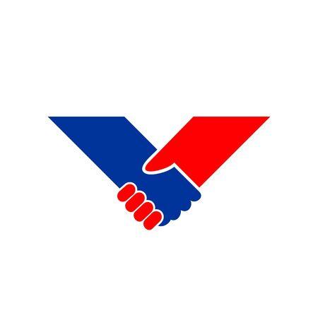 Holding Hand V Shape Vector Symbol Graphic Logo Design Template  イラスト・ベクター素材