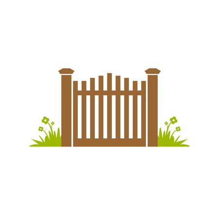Garden Gate Fence Illustration Design 写真素材 - 126642516