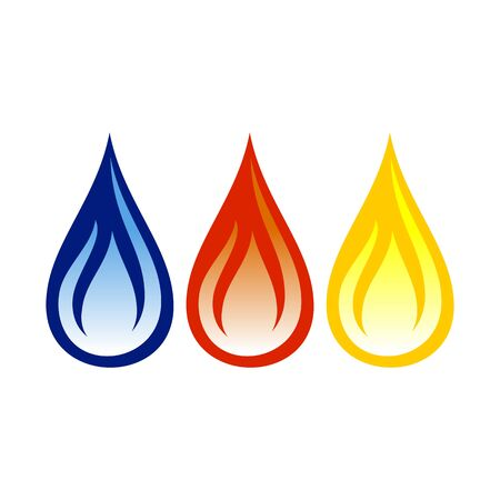 Oil Gas Flame Abstract Vector Symbol Graphic Logo Design Template