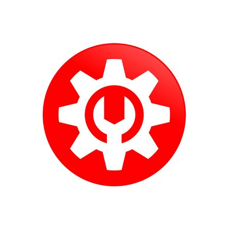 Gear Mechanic Red Circular Vector Symbol Icon Graphic Logo Design Template 写真素材 - 126642528
