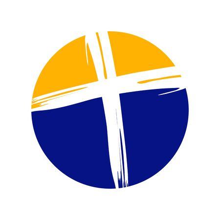 Crucifix Cross Brush Circle Vector Symbol Graphic Logo Design Template  イラスト・ベクター素材