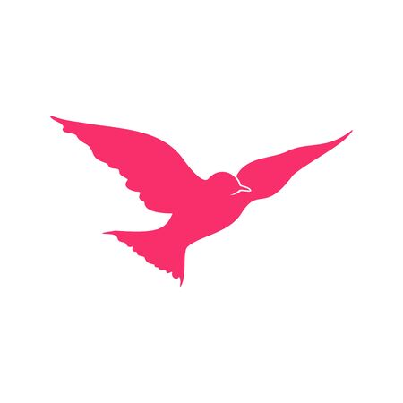 Flying Pink Bird Open Wings Vector Symbol Graphic Logo Design Template