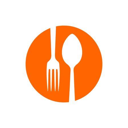 Spork Negative Spoon Fork Restaurant Circle Icon