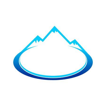 Ice Blue Mountain Landscape Oval Symbol Design