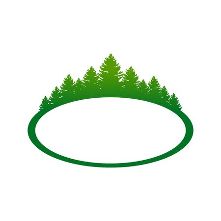Green Forest Landscape Oval Shape Symbol Design