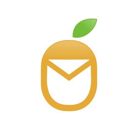 Fresh Fruit Mail Unique Icon Symbol Design 写真素材 - 129786884