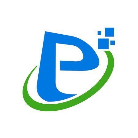 Initial E or P Letter Global Digital Symbol Design