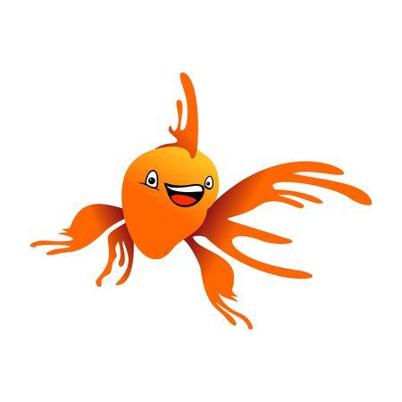 Happy Orange Goldfish Illustration Design 写真素材 - 130662946