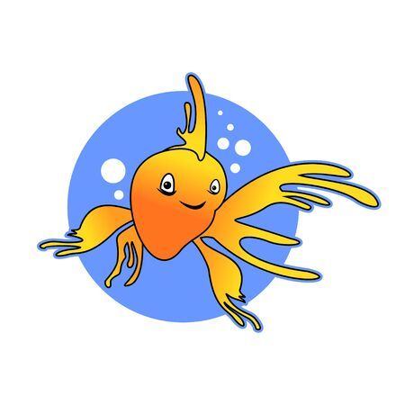 Smile Yellow Goldfish Illustration Design 写真素材 - 130662947
