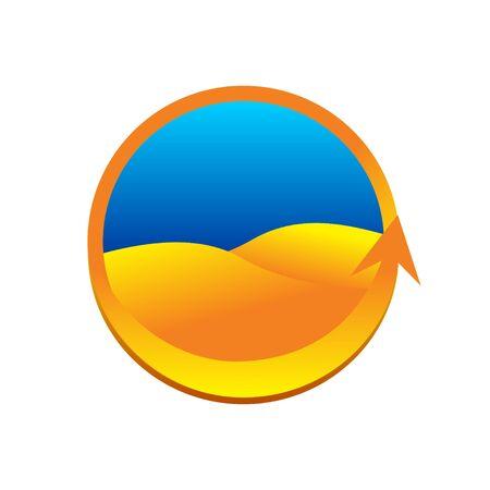 Golden Land Desert Circular Logo 3D Symbol Design Иллюстрация