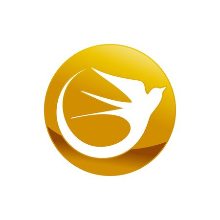 Abstract Swallow Bird Golden Emblem Vector Symbol Graphic Logo Design Template